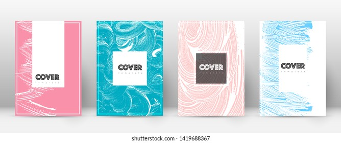 Cover page design template. Hipster brochure layout. Captivating trendy abstract cover page. Pink and blue grunge texture background. Cute poster.