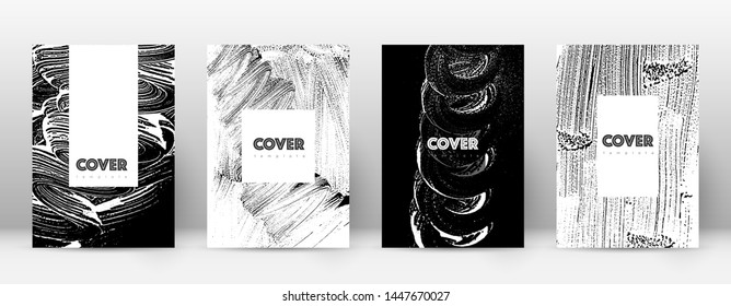Cover page design template. Hipster brochure layout. Breathtaking trendy abstract cover page. Black and white grunge texture background. Fresh poster.