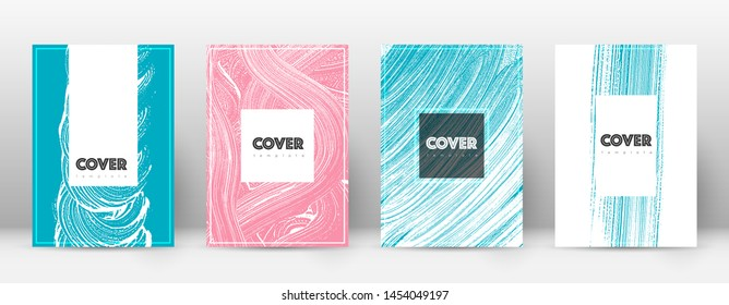 Cover page design template. Hipster brochure layout. Brilliant trendy abstract cover page. Pink and blue grunge texture background. Exquisite poster.