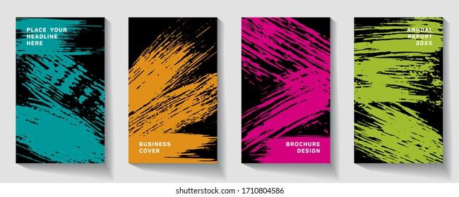 Cover page design template. Hipster brochure layout. Flyer promotion.  Presentation cover. Vector illustration. splash paint like a comma. Pink, orange, green, azure.
