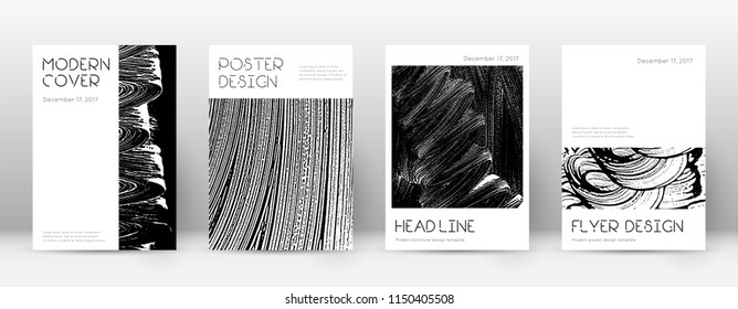 Cover page design template. Minimal brochure layout. Captivating trendy abstract cover page. Black and white grunge texture background. Indelible poster.