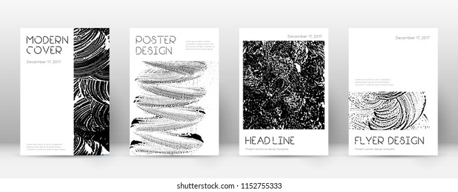 Cover page design template. Minimal brochure layout. Captivating trendy abstract cover page. Black and white grunge texture background. Modern poster.