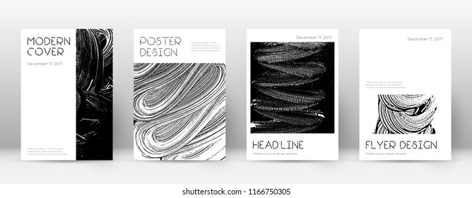 Cover page design template. Minimal brochure layout. Captivating trendy abstract cover page. Black and white grunge texture background. Incredible poster.
