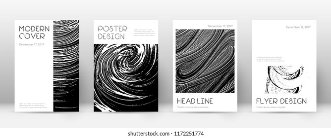 Cover page design template. Minimal brochure layout. Captivating trendy abstract cover page. Black and white grunge texture background. Fine poster.