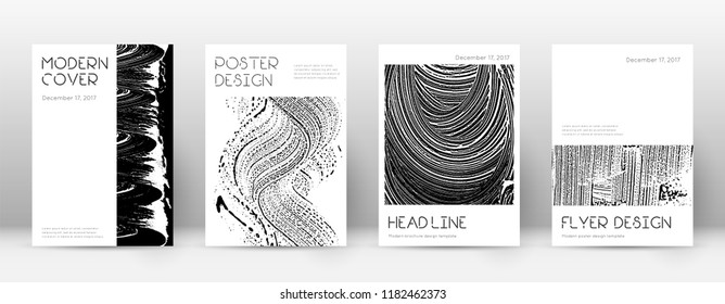 Cover page design template. Minimal brochure layout. Captivating trendy abstract cover page. Black and white grunge texture background. Glamorous poster.