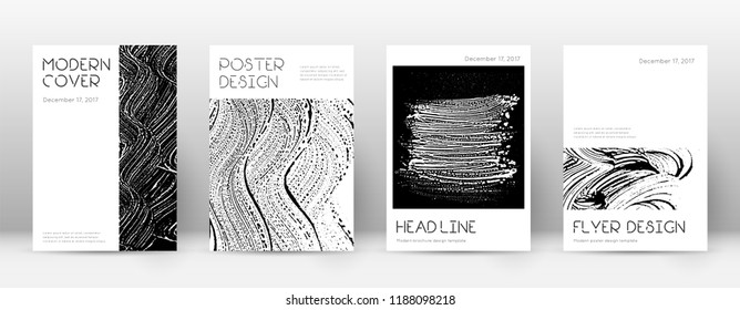 Cover page design template. Minimal brochure layout. Captivating trendy abstract cover page. Black and white grunge texture background. Extraordinary poster.