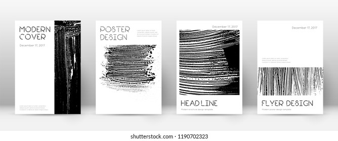 Cover page design template. Minimal brochure layout. Captivating trendy abstract cover page. Black and white grunge texture background. Favorable poster.