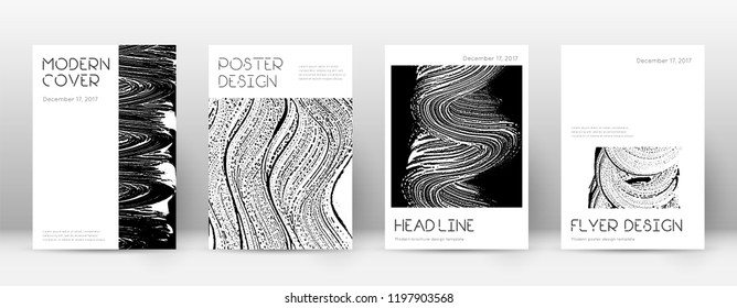 Cover page design template. Minimal brochure layout. Captivating trendy abstract cover page. Black and white grunge texture background. Original poster.