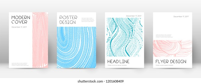 Cover page design template. Minimal brochure layout. Classic trendy abstract cover page. Pink and blue grunge texture background. Astonishing poster.