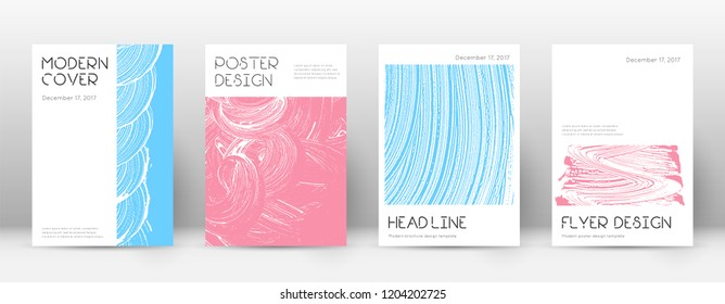 Cover page design template. Minimal brochure layout. Captivating trendy abstract cover page. Pink and blue grunge texture background. Worthy poster.