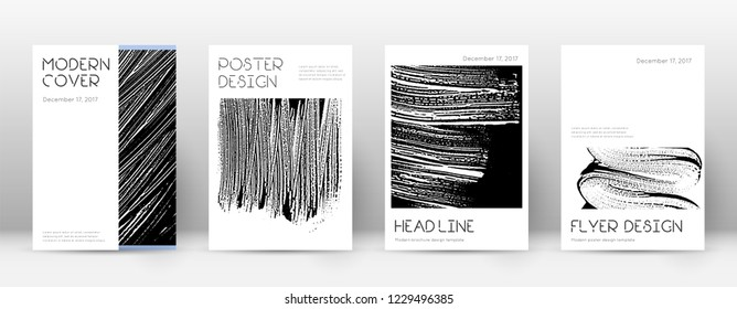 Cover page design template. Minimal brochure layout. Captivating trendy abstract cover page. Black and white grunge texture background. Positive poster.