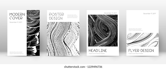 Cover page design template. Minimal brochure layout. Captivating trendy abstract cover page. Black and white grunge texture background. Mind-blowing poster.