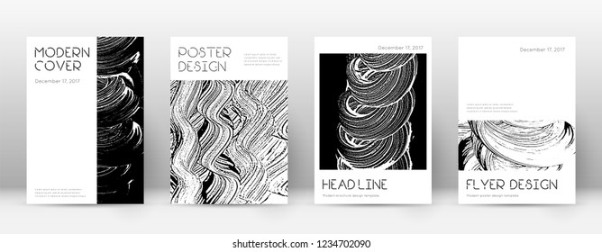 Cover page design template. Minimal brochure layout. Captivating trendy abstract cover page. Black and white grunge texture background. Imaginative poster.