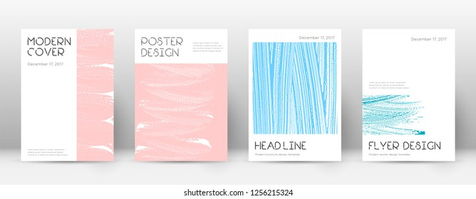 Cover page design template. Minimal brochure layout. Charming trendy abstract cover page. Pink and blue grunge texture background. Superb poster.