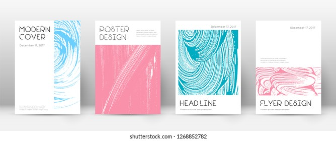 Cover page design template. Minimal brochure layout. Captivating trendy abstract cover page. Pink and blue grunge texture background. Wonderful poster.