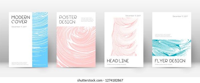 Cover page design template. Minimal brochure layout. Charming trendy abstract cover page. Pink and blue grunge texture background. Marvelous poster.
