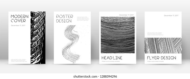 Cover page design template. Minimal brochure layout. Captivating trendy abstract cover page. Black and white grunge texture background. Radiant poster.
