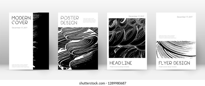 Cover page design template. Minimal brochure layout. Captivating trendy abstract cover page. Black and white grunge texture background. Powerful poster.