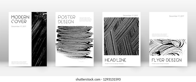 Cover page design template. Minimal brochure layout. Captivating trendy abstract cover page. Black and white grunge texture background. Posh poster.