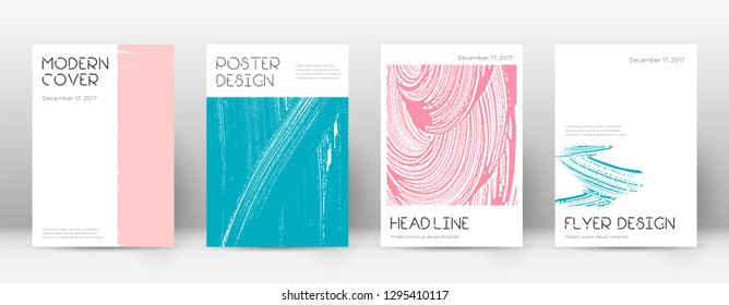 Cover page design template. Minimal brochure layout. Charming trendy abstract cover page. Pink and blue grunge texture background. Favorable poster.