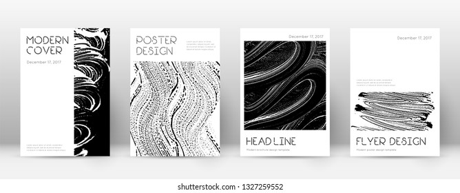 Cover page design template. Minimal brochure layout. Captivating trendy abstract cover page. Black and white grunge texture background. Pretty poster.