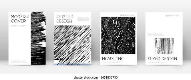 Cover page design template. Minimal brochure layout. Captivating trendy abstract cover page. Black and white grunge texture background. Exquisite poster.