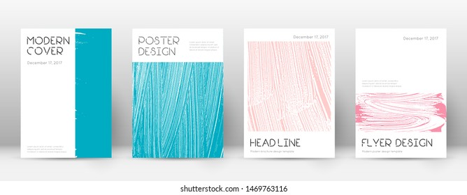 Cover page design template. Minimal brochure layout. Charming trendy abstract cover page. Pink and blue grunge texture background. Uncommon poster.