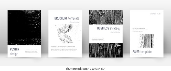 Cover page design template. Minimalistic brochure layout. Classic trendy abstract cover page. Black and white grunge texture background. Favorable poster.