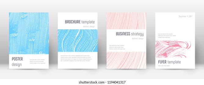 Cover page design template. Minimalistic brochure layout. Classy trendy abstract cover page. Pink and blue grunge texture background. Dazzling poster.