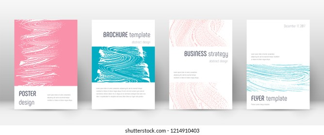 Cover page design template. Minimalistic brochure layout. Classy trendy abstract cover page. Pink and blue grunge texture background. Favorable poster.