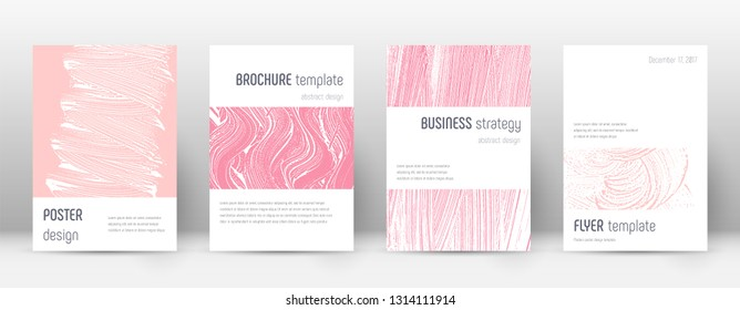 Cover page design template. Minimalistic brochure layout. Classy trendy abstract cover page. Pink and blue grunge texture background. Original poster.