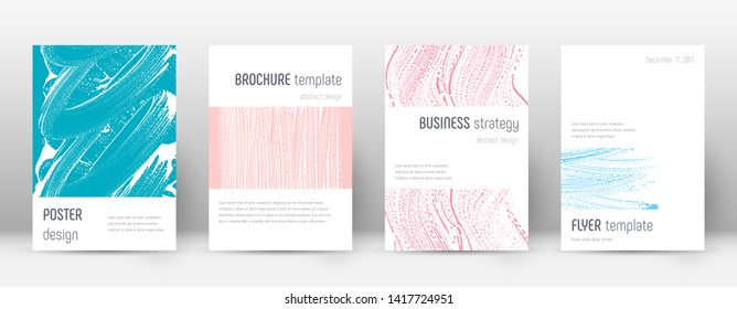 Cover page design template. Minimalistic brochure layout. Classy trendy abstract cover page. Pink and blue grunge texture background. Captivating poster.