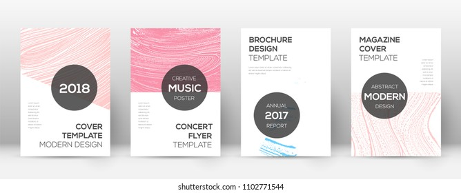Cover page design template. Modern brochure layout. Captivating trendy abstract cover page. Pink and blue grunge texture background. Classic poster.