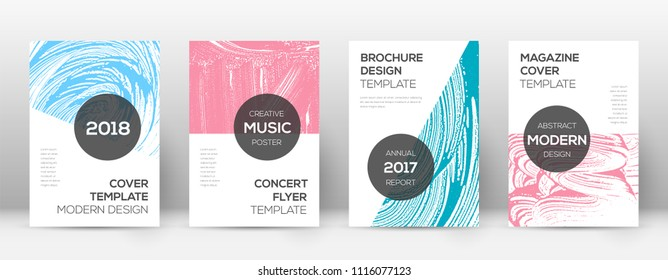 Cover page design template. Modern brochure layout. Comely trendy abstract cover page. Pink and blue grunge texture background. Uncommon poster.