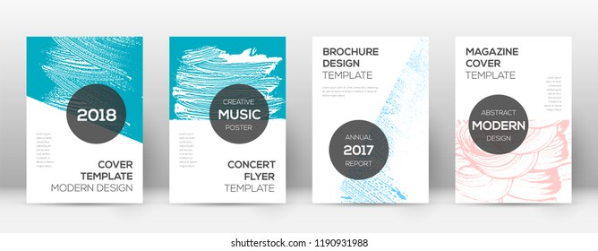 Cover page design template. Modern brochure layout. Cool trendy abstract cover page. Pink and blue grunge texture background. Interesting poster.