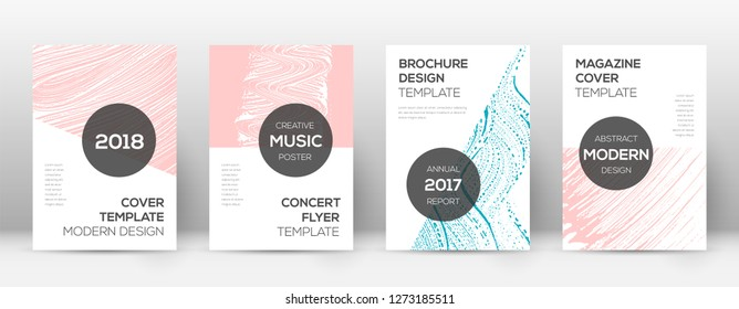 Cover page design template. Modern brochure layout. Cool trendy abstract cover page. Pink and blue grunge texture background. Uncommon poster.