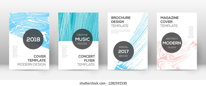 Cover page design template. Modern brochure layout. Cool trendy abstract cover page. Pink and blue grunge texture background. Dazzling poster.