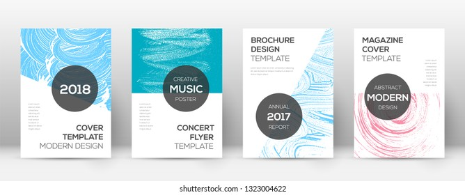 Cover page design template. Modern brochure layout. Comely trendy abstract cover page. Pink and blue grunge texture background. Superb poster.