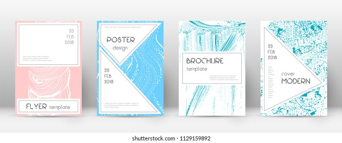 Cover page design template. Stylish brochure layout. Captivating trendy abstract cover page. Pink and blue grunge texture background. Uncommon poster.