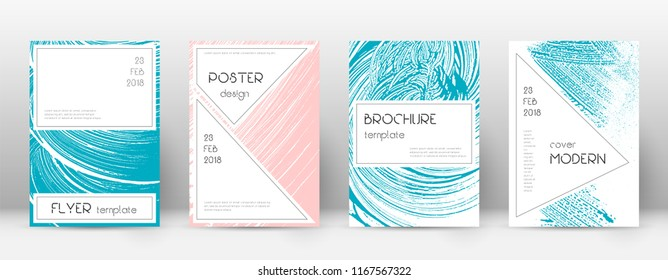 Cover page design template. Stylish brochure layout. Charming trendy abstract cover page. Pink and blue grunge texture background. Dazzling poster.
