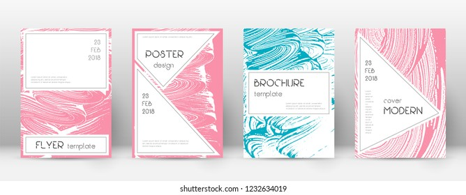 Cover page design template. Stylish brochure layout. Captivating trendy abstract cover page. Pink and blue grunge texture background. Unequaled poster.