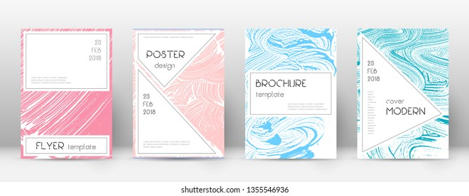 Cover page design template. Stylish brochure layout. Captivating trendy abstract cover page. Pink and blue grunge texture background. Unique poster.