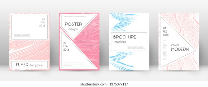 Cover page design template. Stylish brochure layout. Charming trendy abstract cover page. Pink and blue grunge texture background. Favorable poster.
