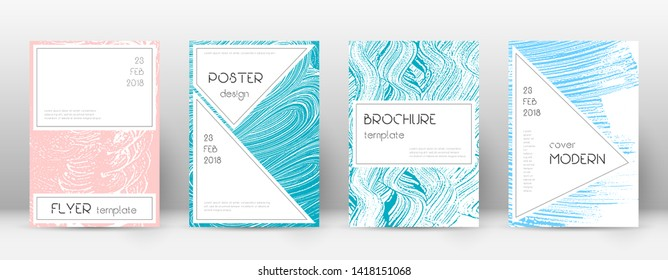 Cover page design template. Stylish brochure layout. Charming trendy abstract cover page. Pink and blue grunge texture background. Magnificent poster.