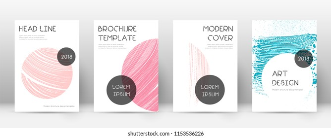 Cover page design template. Trendy brochure layout. Classic trendy abstract cover page. Pink and blue grunge texture background. Flawless poster.