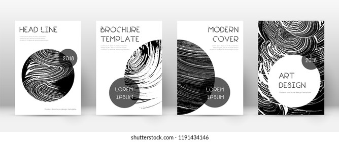 Cover page design template. Trendy brochure layout. Charming trendy abstract cover page. Black grunge texture background. Uncommon poster.
