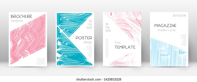 Cover page design template. Triangle brochure layout. Classy trendy abstract cover page. Pink and blue grunge texture background. Uncommon poster.
