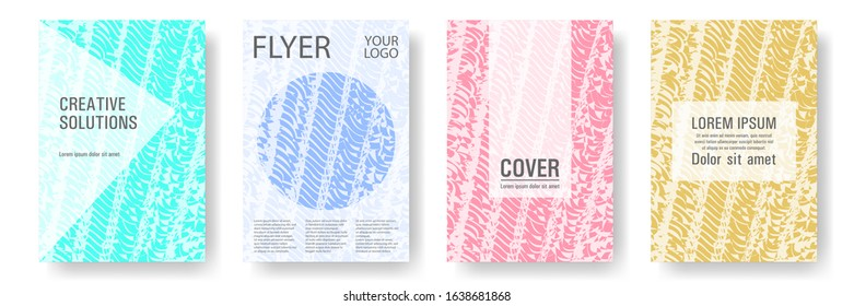 Cover page design templates set. Minimal brochure layouts. Trendy abstract cover pages. Pink turquoise blue grunge texture backgrounds. Stylish posters.