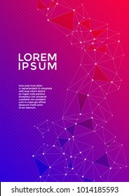 Cover page layout. Global network connection digital grid. Interlinked nodes, molecular, social media, web or  big data cloud structure concept. Information technology concept cover vector.