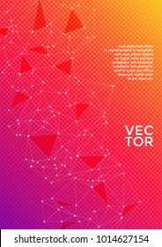 Cover page layout. Global network connection digital grid. Interlinked nodes, molecular, social media, web or  big data cloud structure concept. Information technology concept cover.